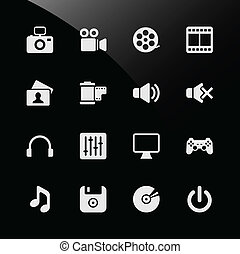 tela, multimedia, iconos