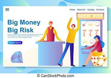 tela, riesgo, grande, casino, theme., aterrizaje, diseño, victoria, plantilla, página