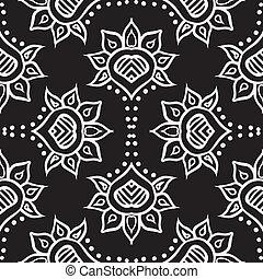 tela, seamless, marroquí, mano, vector, diseño, dibujado