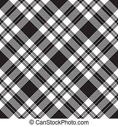 tela, seamless, textura, patrón, diagonal, cheque, negro, blanco