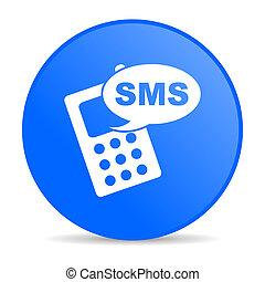 tela, sms, brillante, azul, icono, círculo