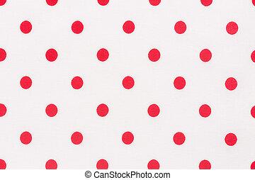 Tela textil, lunares, fondo blanco y textura roja.