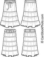 tela vaquera, dama, largo, faldas