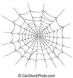 tela, vector, araña, blanco