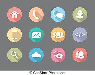 Telaraña de diseño plano, iconos de comunicación