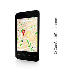 Telefono móvil moderno con navegador GPS.