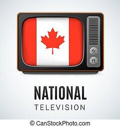 Televisión antigua y bandera de Canadá como símbolo de la televisión nacional. Botón con bandera canadiense