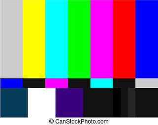 televisión, barras, coloreado, señal