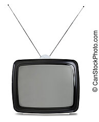 televisión, blanco, retro, aislado
