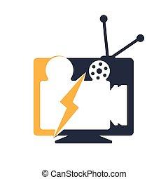 televisión, cine, vector, logo.
