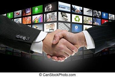 Televisión de edad digital futurista y canales de fondo
