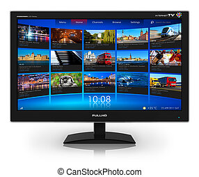 Televisión de pantalla con galería de video