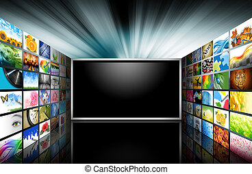 Televisión de pantalla plana con imágenes