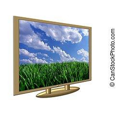 televisión, flatscreen, aislado