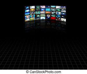 televisión, grande, panel, pantallas