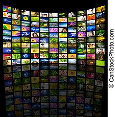 televisión, grande, panel