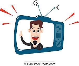 televisión, hombre de negocios, atrás, pantalla