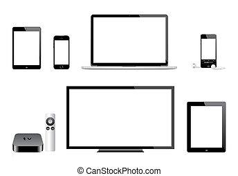 televisión, iphone, mac, manzana, ipad, ipod