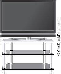Televisión Panel plana en un puesto de televisión moderno
