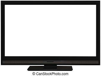 televisión, pantalla plana, recorte, de par en par