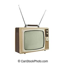 Televisión portátil de 1960 con antenas en ángulo lateral