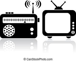 televisión, radio, iconos