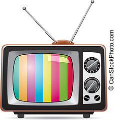 televisión, retro, ilustración, conjunto, vector