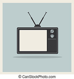 televisión, vector, retro, crt, receptor