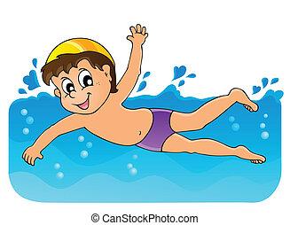 tema, 3, imagen, natación