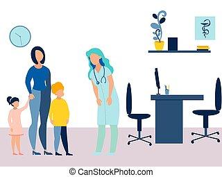 tema, caricatura, recepción, tomó, medicina, minimalista, madre, pediatrician., health., vector, style., plano, niños