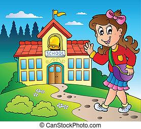 Tema de chica y edificio escolar