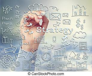 Tema de estrategia de negocios dibujando con tiza