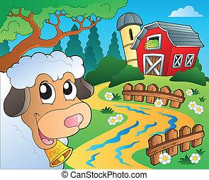 Tema de granja con granero rojo 5