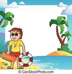 Tema de playa con salvavidas
