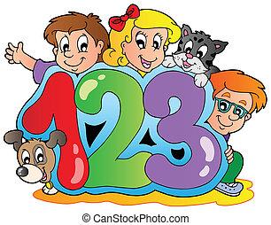 Tema escolar con números