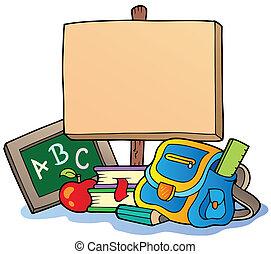 Tema escolar con tabla de madera