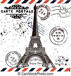 tema, estilo, parís, grunge, torre, poste, viaje, tarjeta, viaje, vocación, vendimia, immitation, sellos, eiffel, bonjour, paris.