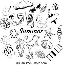 tema, garabato, verano, ilustración, vector, estilo