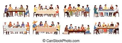 tema, platos, conjunto, comida, cuisines, mundo, ilustraciones, tabla, gente, juntos.