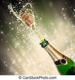 tema, salpicar, celebración, champaña