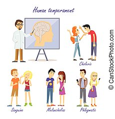 temperamento, humano, types., científico, personalidad