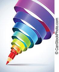 Temperatura creativa con lápiz y cinta espiral coloreada