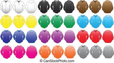Temperatura de camisetas sudorosas en muchos colores