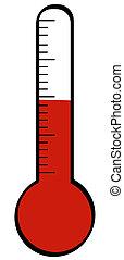 temperatura, levantamiento, termómetro