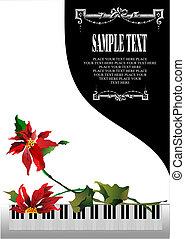 Templa tarjeta de felicitación con piano blanco y flor