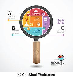 Templado infográfico con pancarta de magnifica. Concepto ilustración vectorial