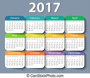 template., año, vector, 2017, diseño, calendario