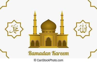 template., alá, caligrafía, bacground., muhammad., diseño, profeta, vector, mezquita