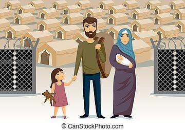 template., concept., árabe, diseño, refugees., refugees, inmigración, family., ayuda, social, infographic.
