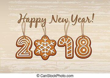template., de madera, año, galletas, nuevo, fondo., vector, feliz, diseño, señal, vendimia, 2018, hecho, jengibre, cuerdas